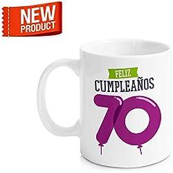 """Taza Cerámica para Desayuno en Color Blanco de 300 ml, Un Regalo Original para Aniversarios - """"Feliz 70 Cumpleaños"""""""