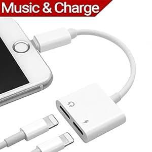 Adaptateur Accessoires pour iPhone X, iPhone 8/8 Plus.iPhone 7/7 Plus. 2 en 1 Lightning Adaptateur et Splitter,Câble Adapteur Lightning vers Double Lightning Port Casque Audio & Charge Simultanément Pour Apple.Compatible pour iOS 10.3 / 11or Plus