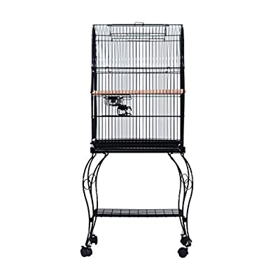 PawHut Large Metal Bird Cage Aviary Budgies Finch Cockatiel Birds Stand Feeding Station Open Top w/ Wheels
