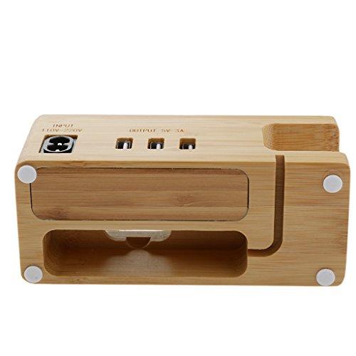 perfk 3 port USB Hub Bambus Ladestation Halterung Hölzerne Ständer für Uhr Smartwatch / Handy Iphone