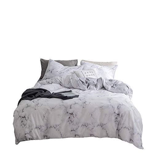 2-teiliges Twin Bettbezug Set, grau 100% natürliche Baumwolle Stil Bettbezug, Kontrast 2Ton Reversible Design mit Reißverschluss Modern Twin Stil 13