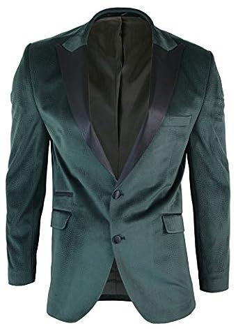 Mens Slim Fit 1 Button Velvet Blazer Tuxedo Dinner Jacket Green Black