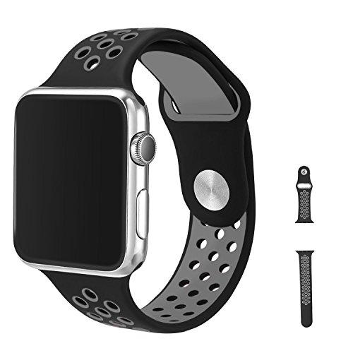 Watch Armband 38mm, Vaxiuja Serie 1/2 Sport Armbanduhr Silikonarmband Ersatzarmband Armband for Apple iWatch / Apple Uhr Nike + (38mm, Gray & Schwarz) Test