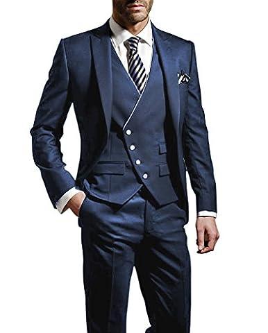 Suit Me Hommes 3 pieces Costume Slim Fit veste de costume de smoking fete de mariage, gilet, pantalon Bleu S
