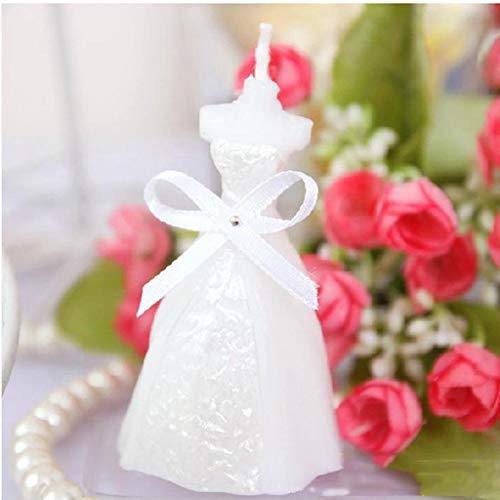 QAWSED Aromatherapie Kerze Weiß Hochzeitskleid Stil Geeignet Für Hochzeitsfeier Romantische Balz Geburtstag Rauchfrei 10St Kerze entspannen