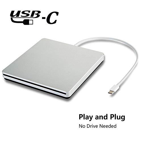 Externes USB-Laufwerk, tragbares externes DVD/CD-Laufwerk/Lesegerät für MacBook/MacBook Pro/ASUS/Dell mit USB-C-Anschluss