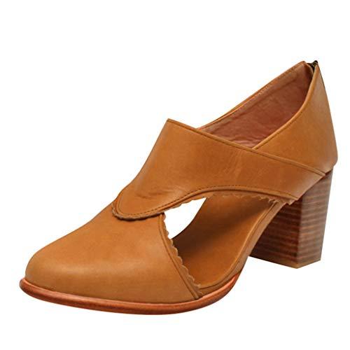 Sandalen Damen Stiefel Blockabsatz Keilabsatz Retro Stiefeletten Sommer Schuhe Plateau Damenschuhe Sandaletten Sommerschuhe (EU:36, Gelb)
