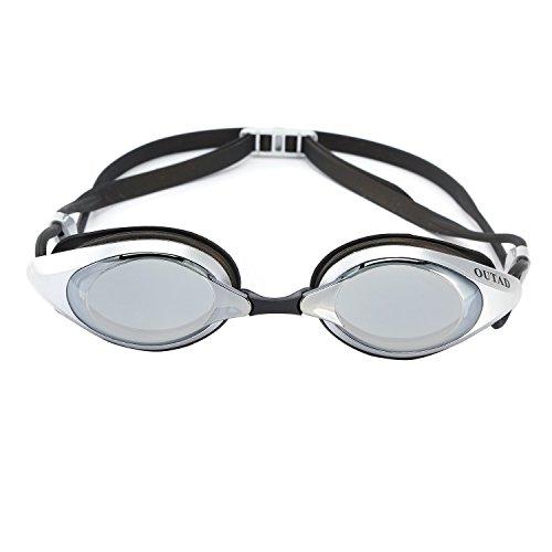 Schwimmbrille, OUTAD Unisex Schwimmbrille für Erwachsene mit Antibeschlag-Schutz, 100% UV Schutz Spiegel / Getönte Gläser, Größenverstellbar und Extra Dicht mit 2 Auswechselbaren Nasenstücken