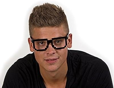 Nerd gafas Pixeles Gafas Negro Nerd Geek Computer Gafas Freak