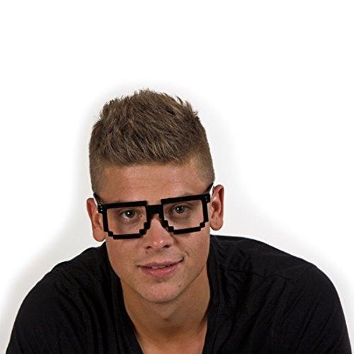 Amakando Pixelbrille Pixel Brille Geek schwarz Nerdbrille Nerd Brille Freak Computerbrille