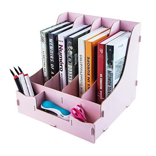 BAIF Multifunktionale Holz Desktop Organizer DIY Schreibtisch aufgeräumt stationären lagerschrank büro lagerregal schublade Buch Halter datei Ordner (Farbe: rosa) (Desktop Datei-ordner-halter)
