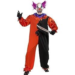 Smiffys - traje de payaso disfraz de miedo, Men in. vestido y máscara, XL