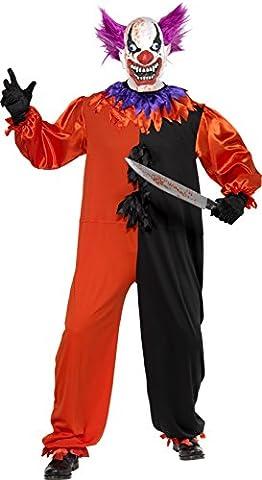 Smiffys Déguisement Homme, Bo Bo le clown de cirque sinistre et effrayant, avec combinaison, Taille S, 33474