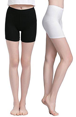 Vinconie Damen Sommer Shorts High Waist Hot Pants Baumwolle Kurz Hose Weiß (Spandex Pants Womens Capri)