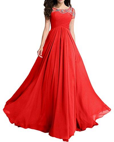 Milano Bride Damen Herrlich Lang Tuell Abendkleider Festkleider Partykleider Strass Perlenstickerei Rot