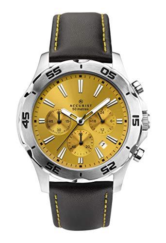 Accurist pour Homme Cadran Jaune analogique Montre chronographe avec Bracelet Cuir Noir 7256.