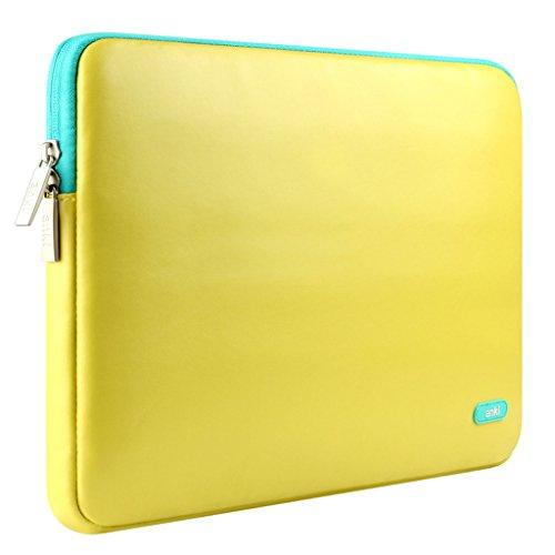 Gelb Cover Chromebook (Laptop Tasche für 15,0-15,4 Zoll Laptop Prämie Weich PU Leder Wasserdicht Reißverschluss Stoßfest Notebook Carrying Bag / Computer Hülle Case Cover für Apple MacBook Pro 15,0 Zoll / Macebook Pro (Retina) 15,4 Zoll / Asus Zenbook / Lenovo / Samsung / Sony / HP / Dell / Chromebook (Gelb))