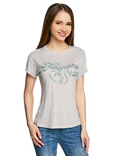 oodji Ultra Damen Gestreiftes T-Shirt mit Lurex-Schriftzug Grau (1066S)