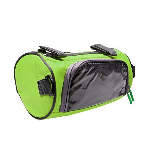 Hochwertige Fahrradtasche, Radfahren / Radsport Handytasche auf Lenker mit Touch-Screen, auch als Umhängetasche, Praktisch und Multifunktionell Grün - Rund