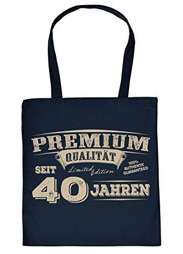 (Sprüche-Tasche/Stoffbeutel/Spaß-Tasche Thema Geburtstag: Premium Qualität seit 40 Jahren geniales Geschenk)