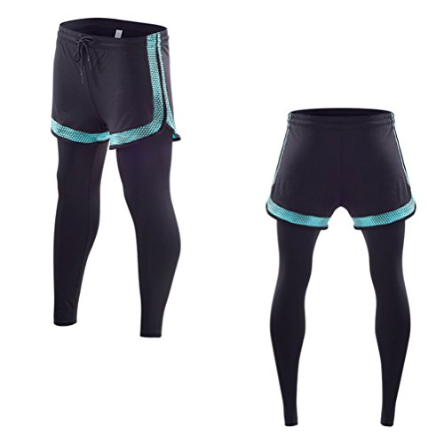 Zhhlaixing Women Stretch Yoga Workout Clothes Set Fitness Running Gli sport Tops&Leggings Pants,Asciugatura veloce,Breathable Black&Cyan