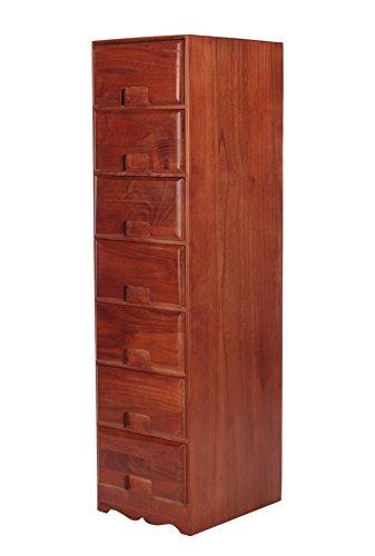 Unbranded Nachtschrank Nachttisch Beistellschrank Schlafzimmer Schränkchen Kommode Retro Braun (7 Schubladen - K35) - Braun 7 Schublade Kommode