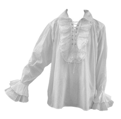DangerousFX Goth Men 80S Eighties New Romantic Frilly Pirate Shirt White L (White Pirate Shirt)