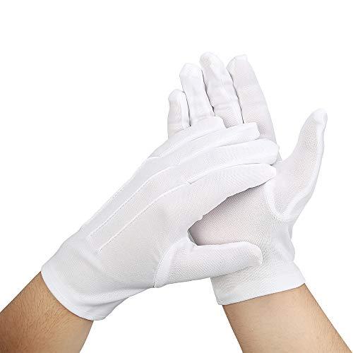 Uhat Guantes Blancos con diseño de 3 Costuras para Disfraz de policía de Esmoquin, Guantes Suaves para Desfile e hidratación de Manos para Disfraz, Cosplay, Halloween, Paquete de 3