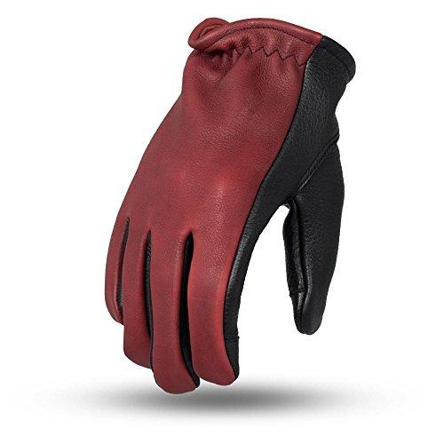 First Verarbeitung Herren 2Ton Roper Leder Touch Tech Finger Motorrad Handschuhe (Oxblood/Schwarz, Groß), 1Pack (Roper Leder)