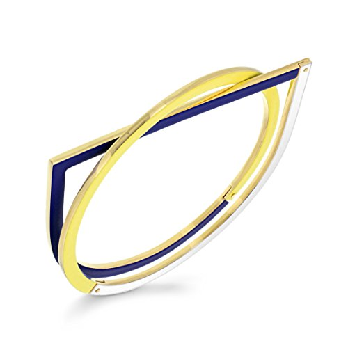 Uncommon Matters Bracelet jonc Plaqué Or Unisexe Yellow, Blue and White