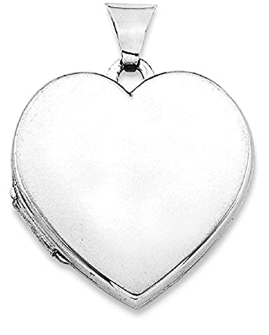 IceCarats 925 Sterling Silver Rhodium Plated Plain 21mm Heart Locket