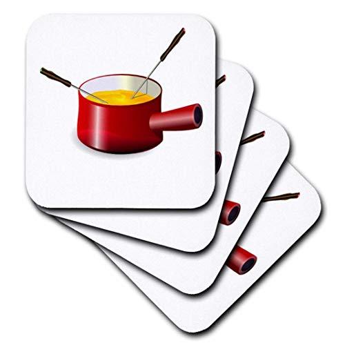 3dRose Florene Retro-Retro Fondue-Topf mit Käse-Untersetzer, Keramik, set-of-4-Ceramic
