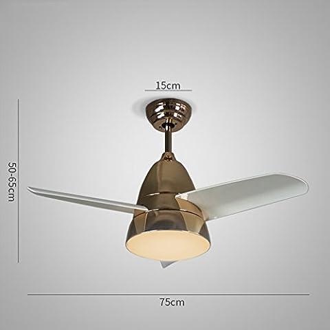 Lampes de Design Lustre de Ventilateur Nordique Moderne Et Simple Salle à Manger à Distance Télécommande Makarón Led Ventilateurs de Plafonnier,UNE