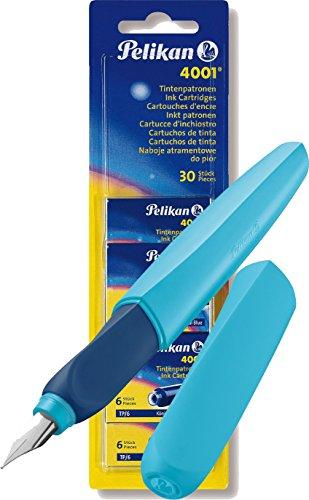 Pelikan 923466 Füller Twist, universell für Rechts- und Linkshänder, Feder M, blau/hellblau + 5x 6 Patronen