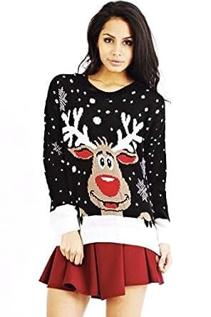 XpoZed Moda - Maglia - Donna Nero  Black Reindeer 1