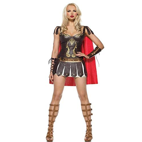 (Yunfeng Hexenkostüm Damen Hexenkostüm Damen Halloween Kostüm Vintage griechische weibliche Rolle Spielen Kostüm Leder Spiel Kostüm Spanisch Gladiator Kostüm)