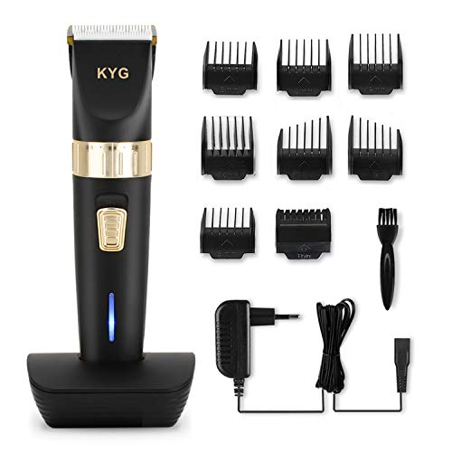 Haarschneider elektrische Haarschneidemaschine bart trimmer herren Präzisionshaartrimmer mit 8 Aufsatzkämmen für Salon oder zu Hause Schwarz KYG