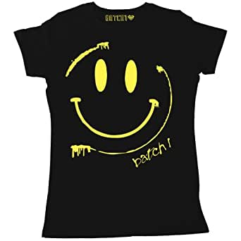 Batch1 Women's Batch1 Smiley Acid Face Retro Chic Festival Printed T-Shirt, Black - S