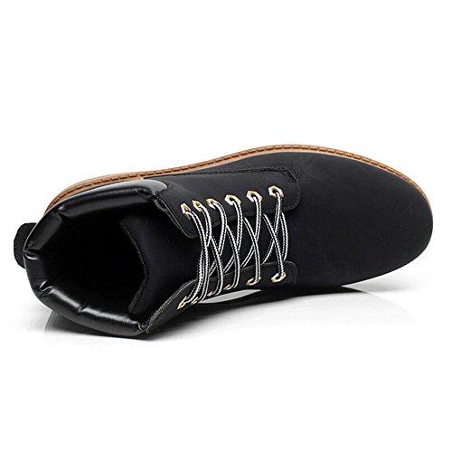 Herren Worker Boots Combat Schuhe - Kurzschaft Stiefel Army Outdoor Schnürstiefeletten Winterschuhe Highdas Schwarz