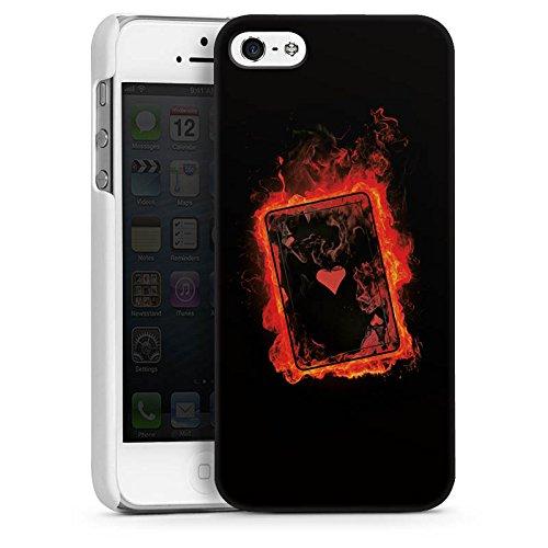 Apple iPhone 5 Housse Étui Silicone Coque Protection Ass C½ur Cartes CasDur blanc