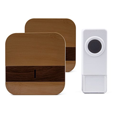 Waterproof Wireless Wood Grain Doorbell Kit with 52 Tones Long