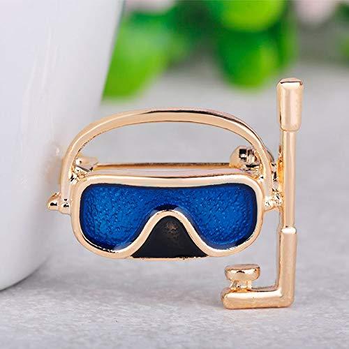 LKLKLK Mode Tauchen Brille Atemschlauch Form Grün Emaille Brosche Für Frauen Männer Kinder Geschenke Neoprenanzug Corsage Pins Schmuck-Blue