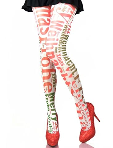 Hotlook Weihnachten Strumpfhose Merry Xmas Christmas Advent Wordcloud glänzend