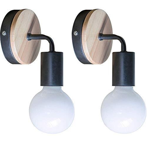 YUENSLIGHTING 2 Piezas Loft negro lámpara de pared Simplicidad E27 LED de hierro y placa de madera...