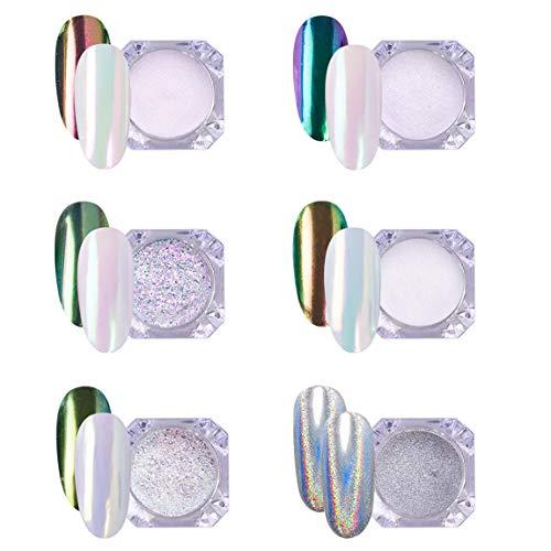 AIMEILI 6 colors Efecto Espejo Uñas Polvo Acrilico