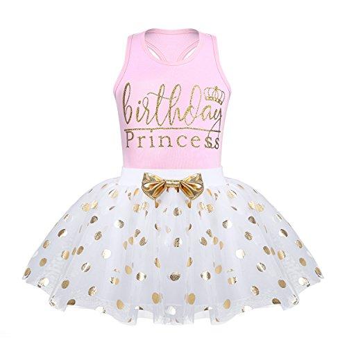 n Kleidung Set Babyshirt Ärmellos Top + Tutu Rock Polka Dots Prinzessin festlich Kleid Kleinkind Kostüm Geburtstag Outfit Gr. 80-116 Rosa 98-104/3-4 Jahre ()