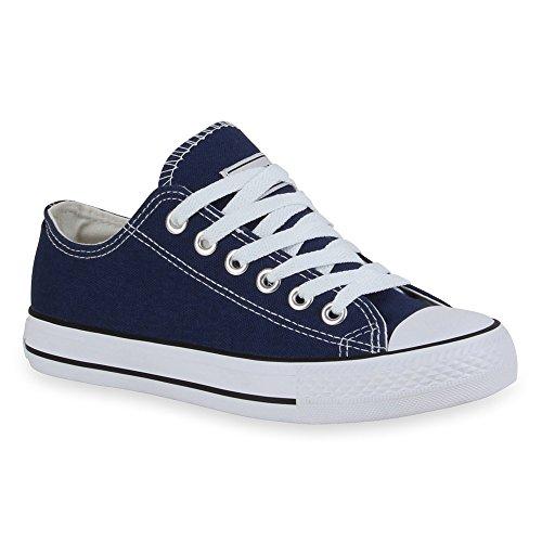 Stiefelparadies Unisex Damen Herren Sneakers Sportschuhe Schnürer Schuhe 53126 Marineblau Ambler 44 Flandell
