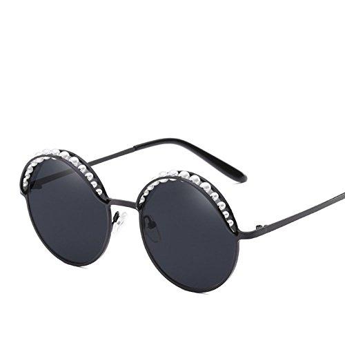 Z&YQ Damen Sonnenbrille Metall rund Rahmen eingelegten Perlen personalisierte Blendfreie Fahren Reise Gläser, Schwarz