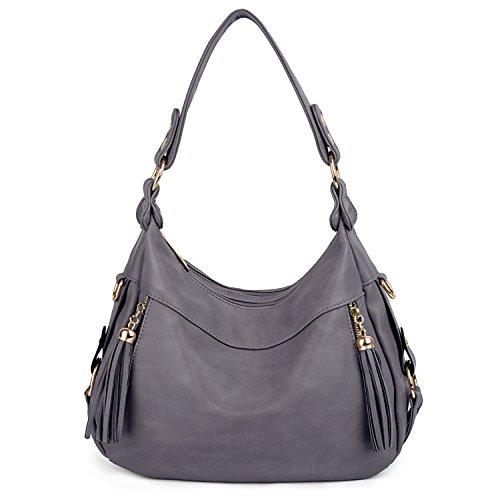 UTO Damen Handtasche PU Leder Purse Hobo Stil PU Schultertasche grau (Stil Hobo Handtasche)