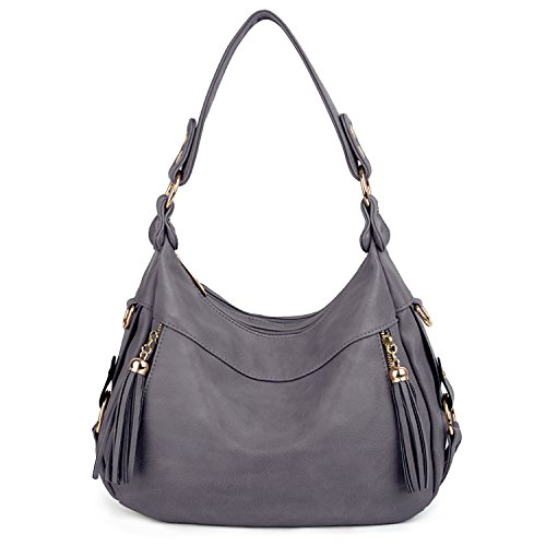 UTO Damen Handtasche PU Leder Purse Hobo Stil PU Schultertasche grau (Handtasche Hobo Stil)